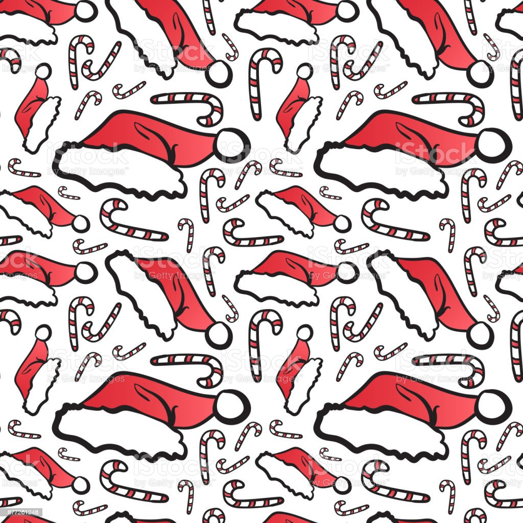 4f029c41f78 Winter Holidays Seamless Pattern Christmas Symbols Doodle Santa Hat And  Candies On White Background - Illustration .