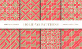 Set of winter holidays seamless patterns. Merry Christmas and Happy New Year. Collection of simple geometric textured backgrounds with red and golden colors. Vector illustration. EPS 10