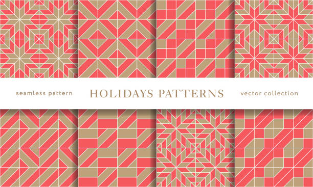 winter holidays seamless patterns - papier do pakowania stock illustrations