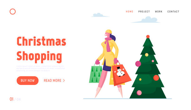 illustrations, cliparts, dessins animés et icônes de vacances d'hiver shopping et préparation pour noel et nouvel an célébration site web page d'atterrissage. girl carry paper bags pass by decorated fir tree web page banner. illustration plate de vecteur de dessin animé - pinacée