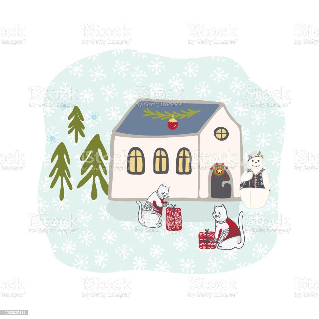 Winter Urlaub Schnee Szene Hütte Clipart Handgezeichnete Abbildung