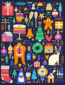 Winter holidays symbols flat vector illustrations set. Cute animals with gift boxes, wine glasses, Christmas trees isolated on black background. Funny Xmas time events decorative design elements