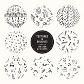 Hand drawn winter holidays textures and brushes. Vector collection of design elements, knitted pattern, sweater ornament, gift box, christmas tree, snowflake, candy cane, pine branch background. Round labels set for greeting gards, flyer, poster templates.