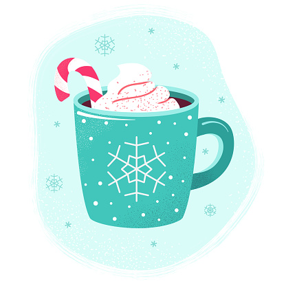 Winter hot drink cup cocoa  hot chocolate marshmallows