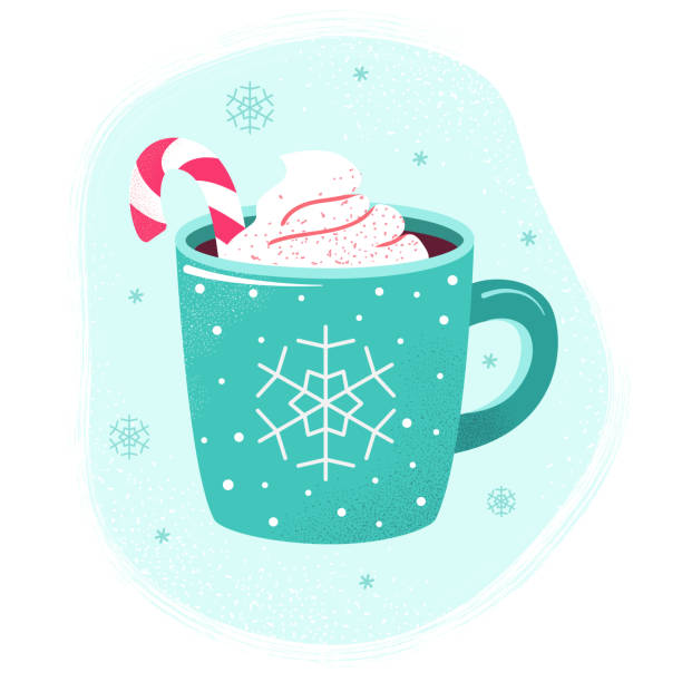 Winter hot drink cup cocoa  hot chocolate marshmallows Winter cup of hot chocolate or hot cocoa with marshmallows and snowflake ornament. Blue mug with coffee, christmas candy and cream. Flat design elements. Winter season illustration. hot chocolate stock illustrations