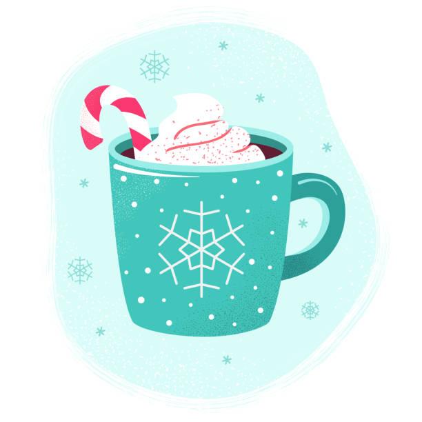 winter-heißgetränk tasse kakao heiße schokolade marshmallows - weihnachtsschokolade stock-grafiken, -clipart, -cartoons und -symbole