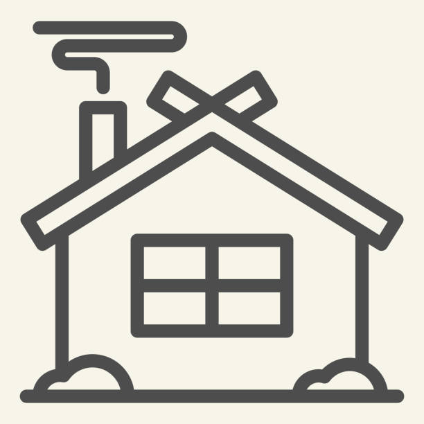 ilustrações de stock, clip art, desenhos animados e ícones de winter house line icon. christmas home outline style pictogram on white background. new year and christmas holidays for mobile concept and web design. vector graphics. - isolated house, exterior