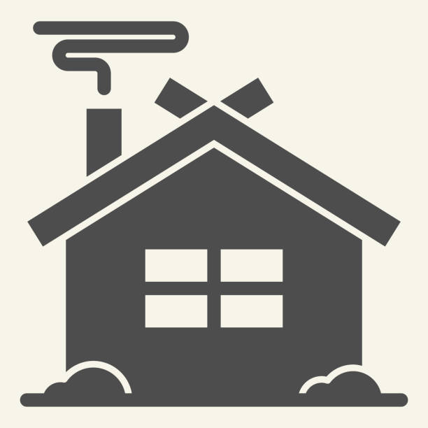 ilustrações de stock, clip art, desenhos animados e ícones de winter house solid icon. christmas home glyph style pictogram on white background. new year and christmas holidays for mobile concept and web design. vector graphics. - isolated house, exterior