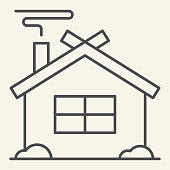 Winter House thin line icon. Christmas home outline style pictogram on white background. New Year and Christmas holidays for mobile concept and web design. Vector graphics