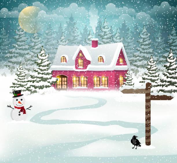 stockillustraties, clipart, cartoons en iconen met winter house - christmas cabin