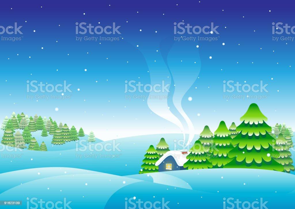 Winter house vector art illustration