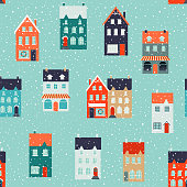 Winter houses for Christmas and Christmas fabrics and decor. Seamless pattern.