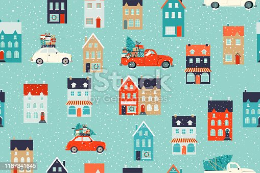Winter houses for Christmas and Red retro car with a fir tree and gifts. Christmas fabrics and decor. Seamless pattern.