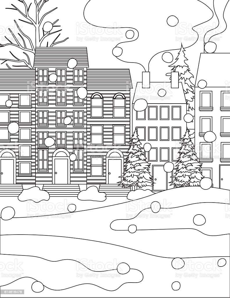 winter houses in the snow coloring book page stock vector art