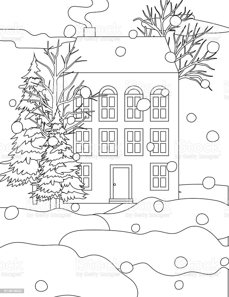 Winter Houses In The Snow Coloring Book Page Stock Illustration - Download  Image Now