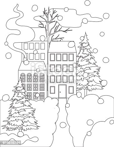 Coloring Book Page. Winter Houses In The Snow. Black and white scene...
