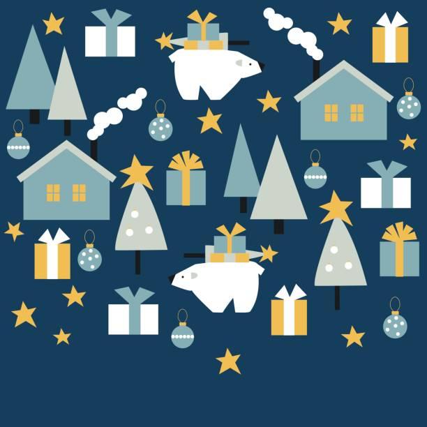 ilustrações de stock, clip art, desenhos animados e ícones de winter houses with trees and polar bear. - carnívoro
