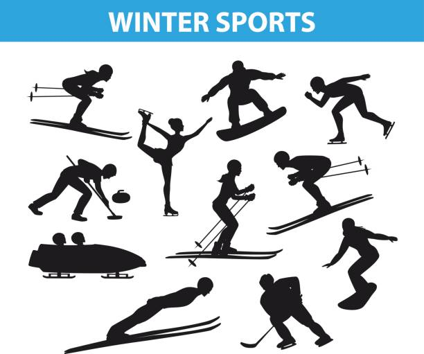 Winter Ice Snow Sports SIlhouettes Set Winter Ice Snow Sports SIlhouettes Set including cross country, freestyle skiiing, sowboarding, speed skating, ski jumping, curling and figure skating, ice hockey, bobsleigh figure skating stock illustrations