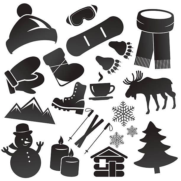冬のアイコンセット分離の白い背景にします。 - 野生動物のカレンダー点のイラスト素材/クリップアート素材/マンガ素材/アイコン素材