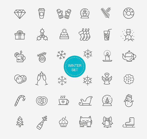 winter icon set outline icons mitten stock illustrations