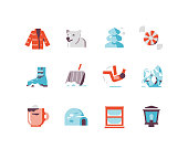 Winter icons including polar bear, snow shovel, slipping on ice, etc.