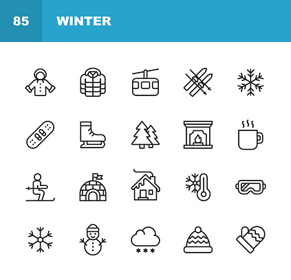 Winter Icons. Editable Stroke. Pixel Perfect. For Mobile and Web. Contains such icons as Winter, Season, Snow, Skiing, Christmas, Christmas Tree, Snowman, Hot Drink, Skates, Jacket, Glove, Skiing, Fireplace, Igloo.