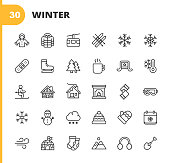 30 Winter Outline Icons.