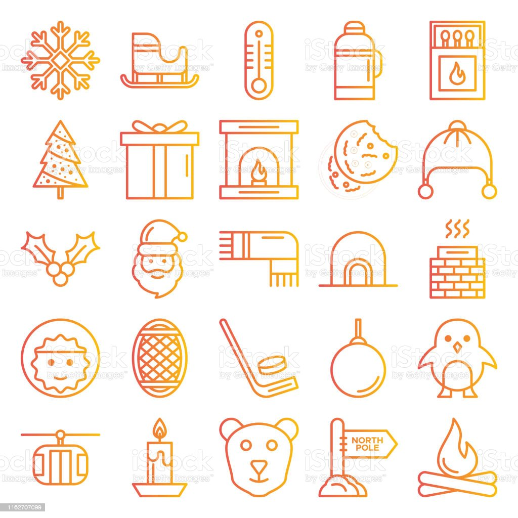 Winter icons pack. Isolated winter symbols collection. Graphic icons...