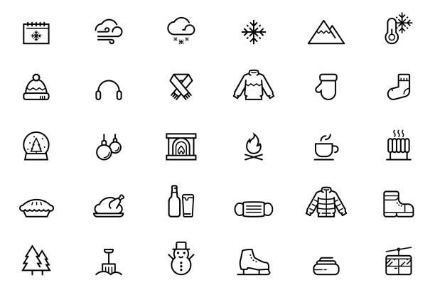ilustrações, clipart, desenhos animados e ícones de ícones de inverno - inverno