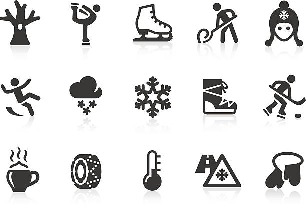 Winter icons Monochromatic winter related vector icons for your design and application. Raw style. Files included: vector EPS, JPG, PNG. figure skating stock illustrations