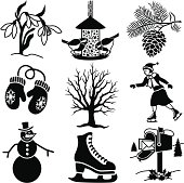 Vector icons with a winter theme.
