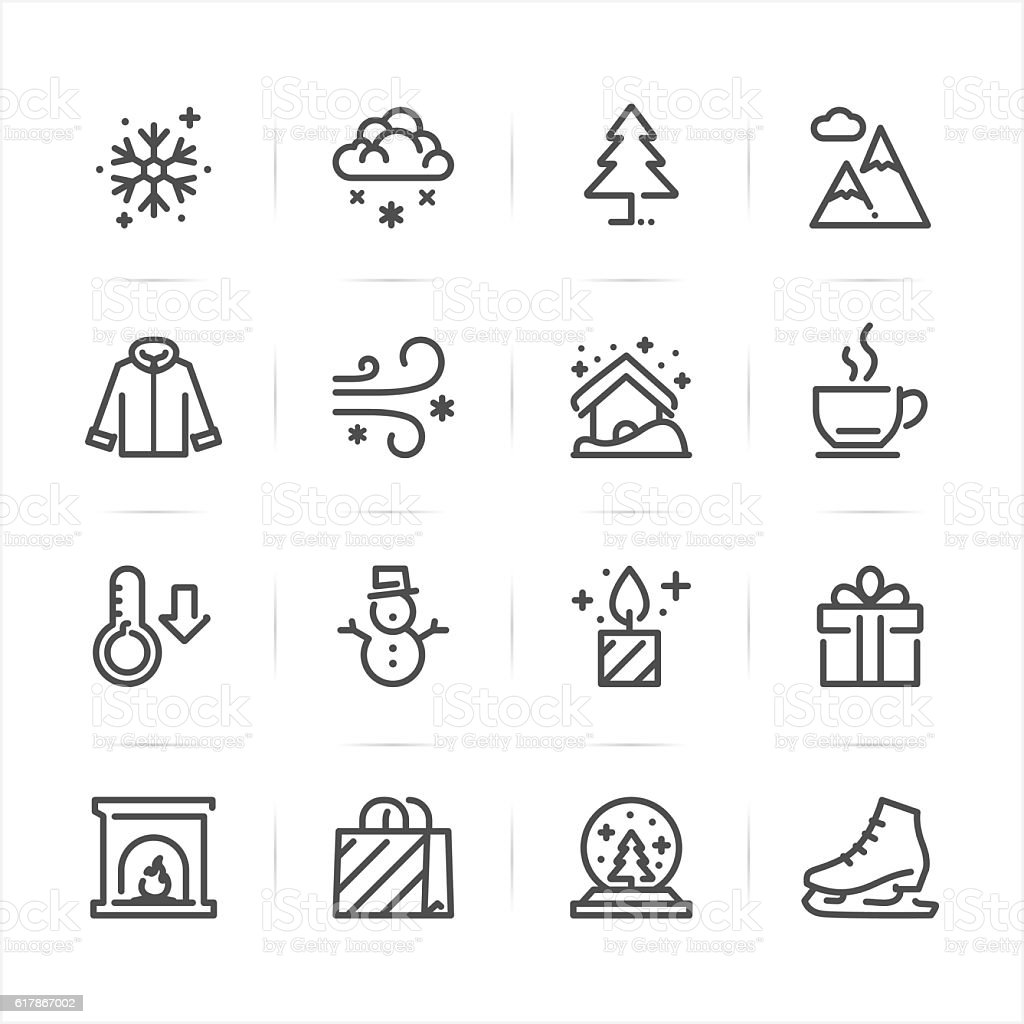 Winter icons Winter icons with White Background Autumn stock vector