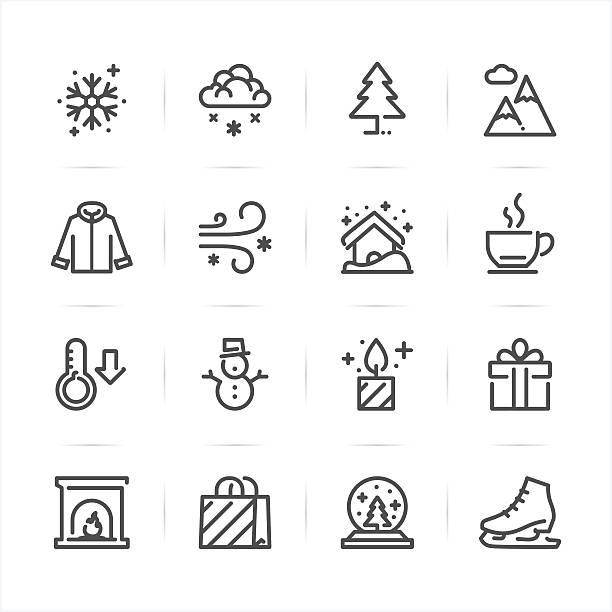 winter-icons - ferien  und feiertagssymbole stock-grafiken, -clipart, -cartoons und -symbole