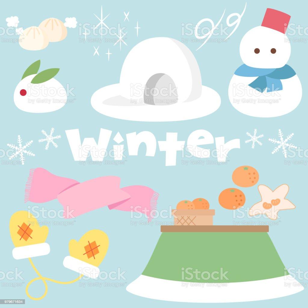 Winter illustration and logo set vector art illustration