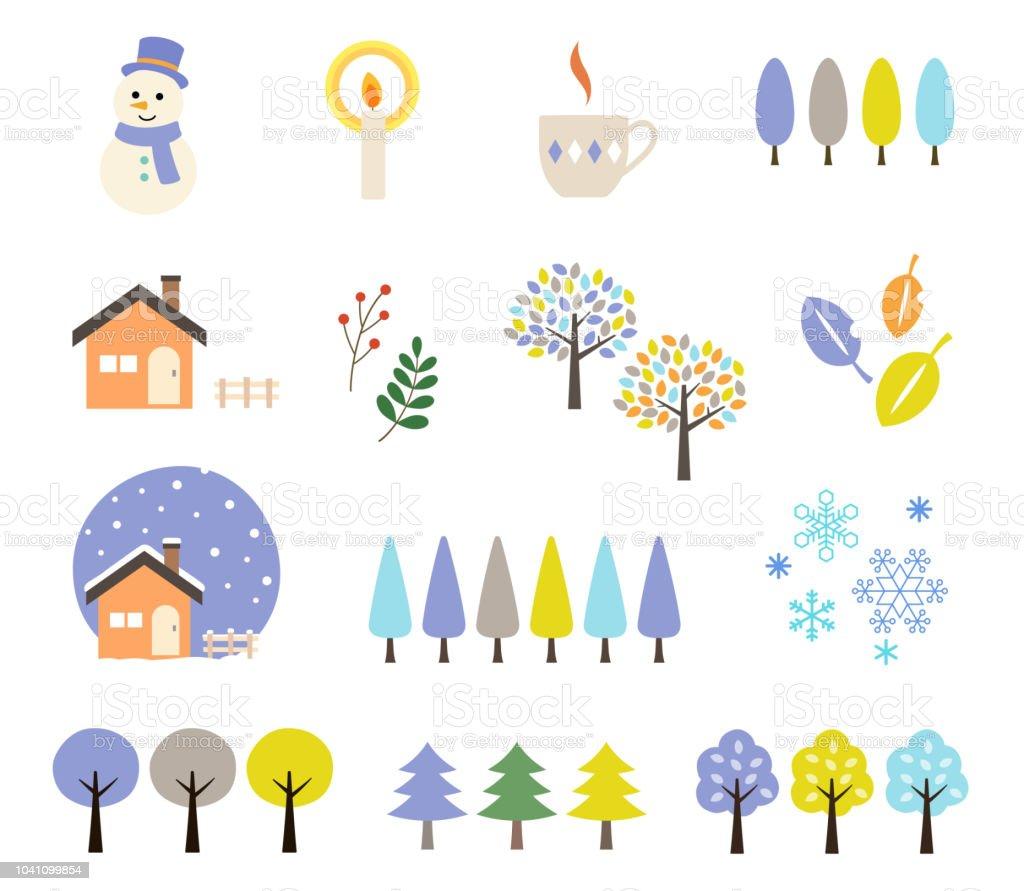 冬のイラスト セット ろうそく消しのベクターアート素材や画像を多数ご