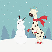 illustration with giraffe in scarf, gloves and boots, snowman, snow and Christmas trees, winter banner with funny animal, new year background, simple Christmas card