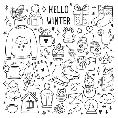 Winter illustrations set.