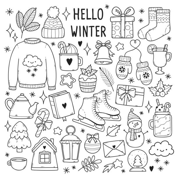 Winter illustrations set. Winter illustrations set. Cute vector icons: sweater, hat, snowflakes, gift, snowman, socks, lantern, tea, book, letter etc. mitten stock illustrations