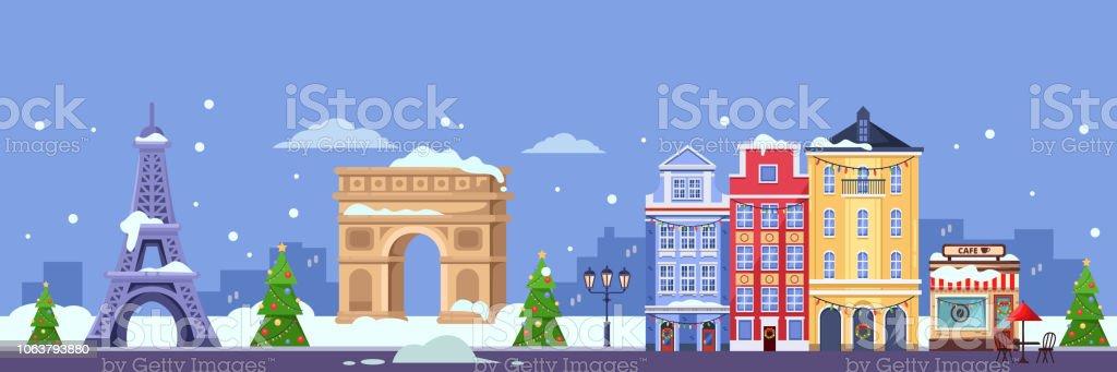 Vintern I Paris Vektorillustration Platta Jul Och Nyar Resa Till Frankrike Vektorgrafik Och Fler Bilder Pa Arkitektur Istock