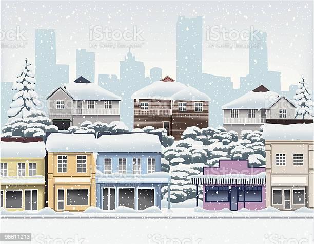 Winter In The City Suburbs-vektorgrafik och fler bilder på Arkitektur