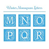 Winter initial letters vector. Decoration capital for holiday monogram cards. Isolated letters M, N, O, P, Q, R.