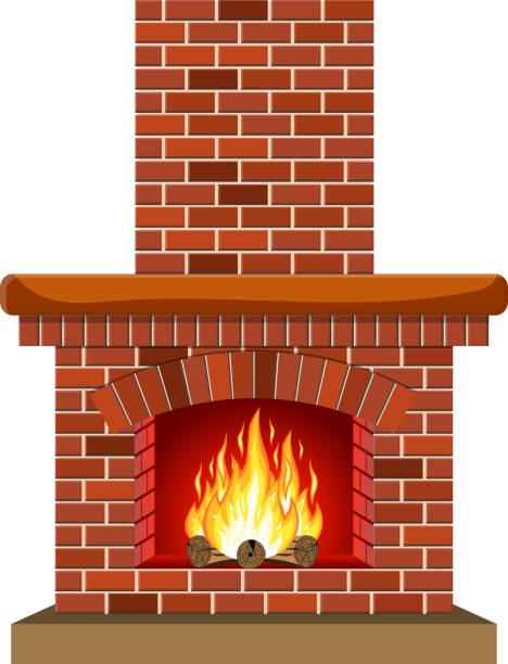 ilustrações de stock, clip art, desenhos animados e ícones de winter interior bonfire. fireplace made of bricks - braseiro