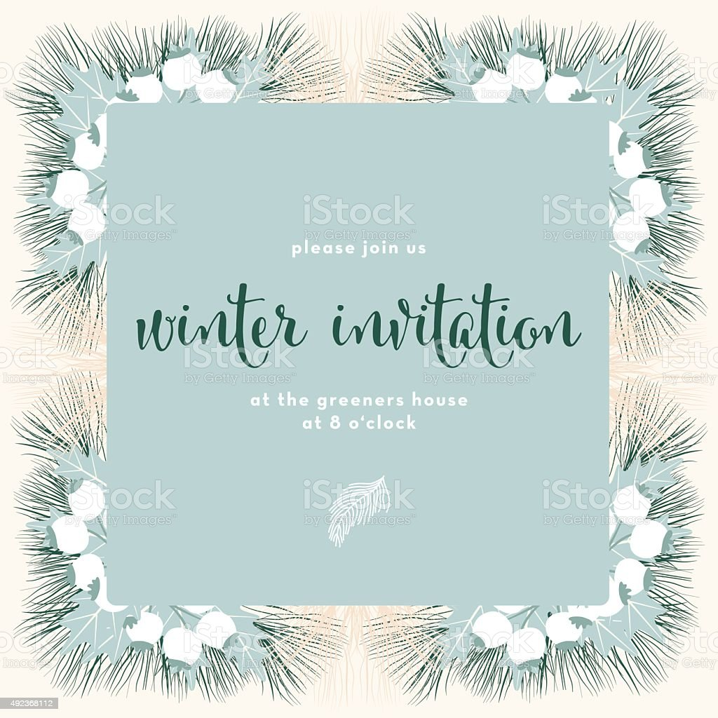 winter invitation card with a light green square banner stock vector