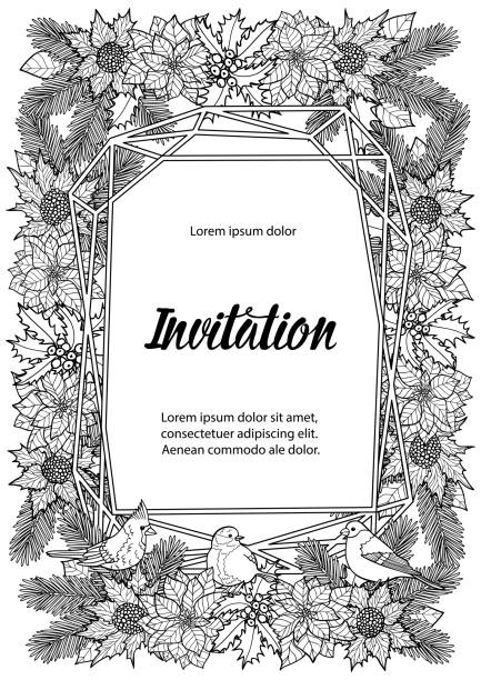Winter Invitation Coloring Page With Geometric Frame Stock ...