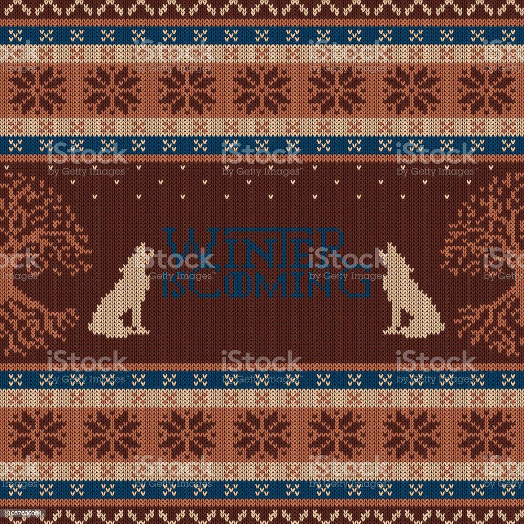 Se acerca el invierno. Árbol de Weirwood y aullando lobos. Punto de lana patrones sin fisuras - ilustración de arte vectorial