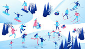 Winter isometric people set, 3d vector sport family ice skating, skiing, snowboarding, playing snowballs, simple skater, ski, tubing, riding at mountain, outdoor snow games, cartoon characters