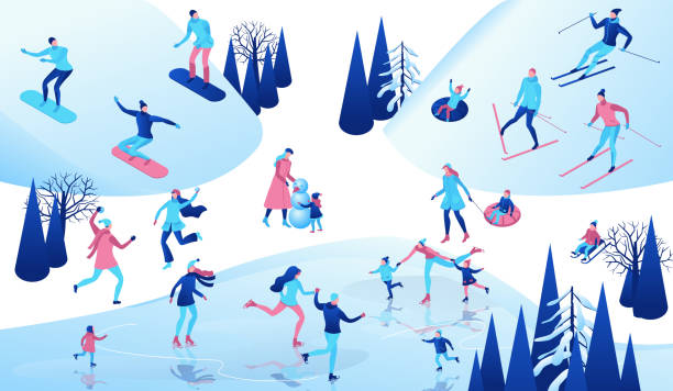 Winter isometric people set, 3d vector sport family ice skating, skiing, snowboarding, playing snowballs, simple skater, ski, tubing, riding at mountain, outdoor snow games, cartoon characters vector art illustration