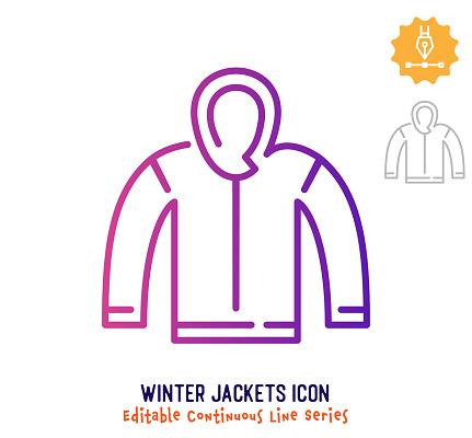 Winter Jackets Continuous Line Editable Stroke Line