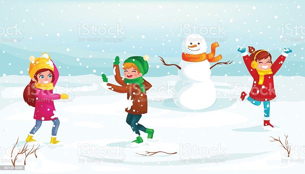Winter kids Vector illustration. Boy and girl playing in snowballs - ilustração de arte em vetor