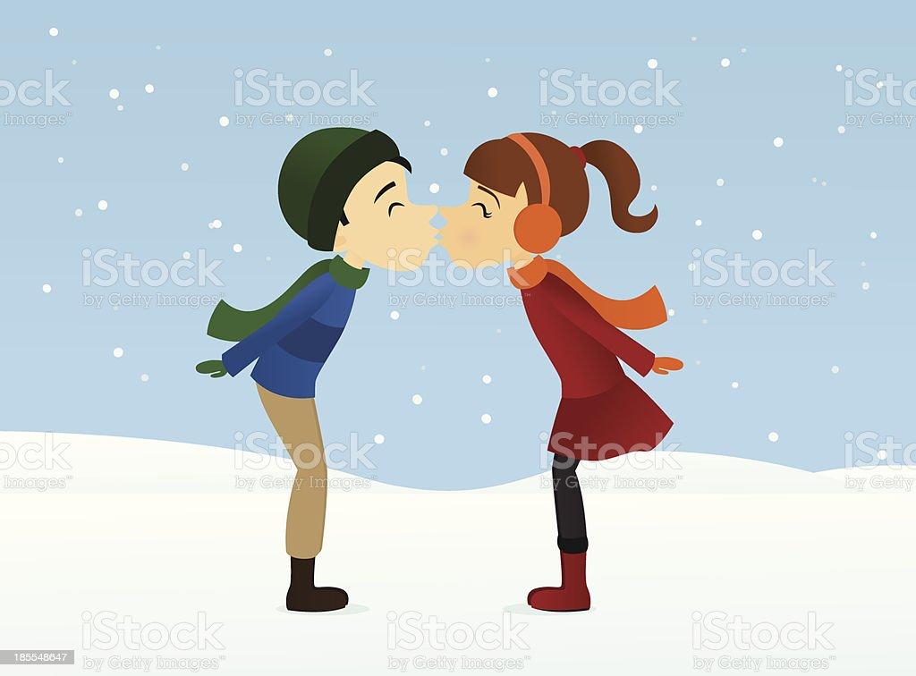 Winter Kiss royalty-free stock vector art